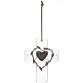 Glass Heart Wall Cross